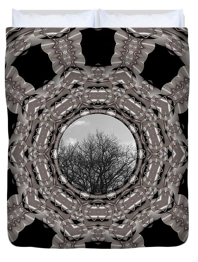 Tree Duvet Cover featuring the mixed media Silver Idyl by Pepita Selles