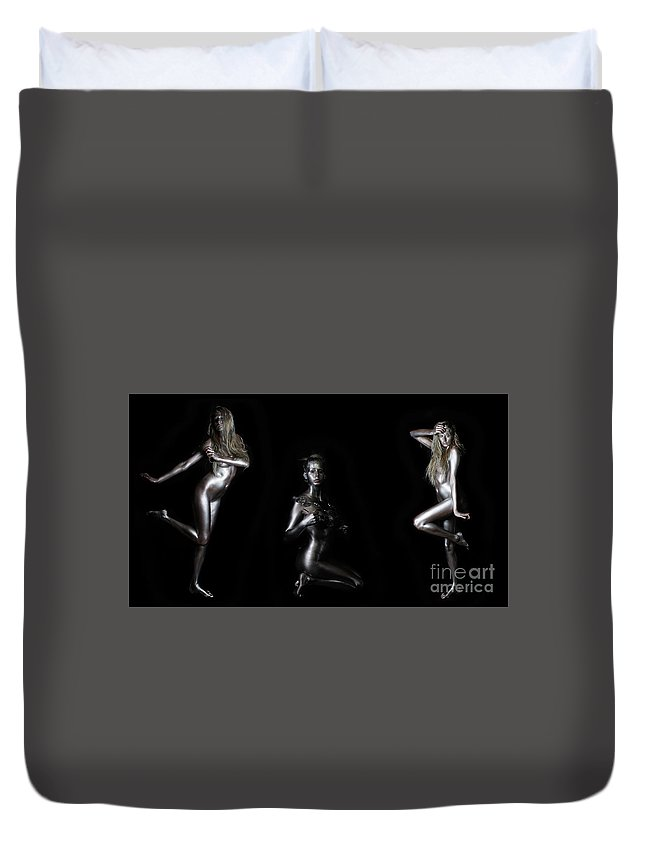 Body Painting Duvet Cover featuring the photograph Silver Lady - Compilation by Robert McAlpine