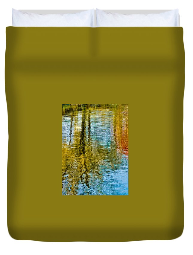 Silver Duvet Cover featuring the photograph Silver Lake Autum Tree Reflections by Michael Bessler