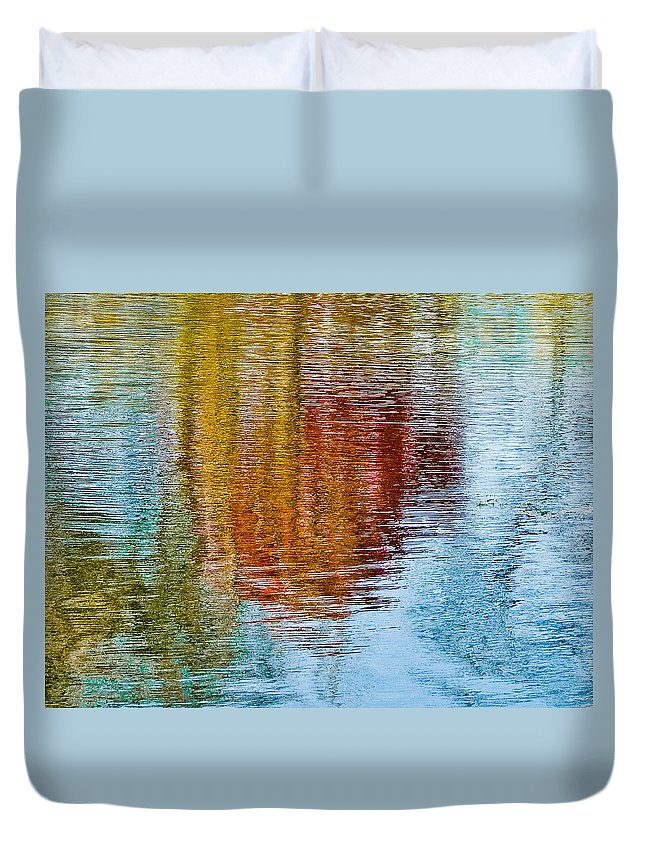 Silver Duvet Cover featuring the photograph Silver Lake Autumn Reflections by Michael Bessler
