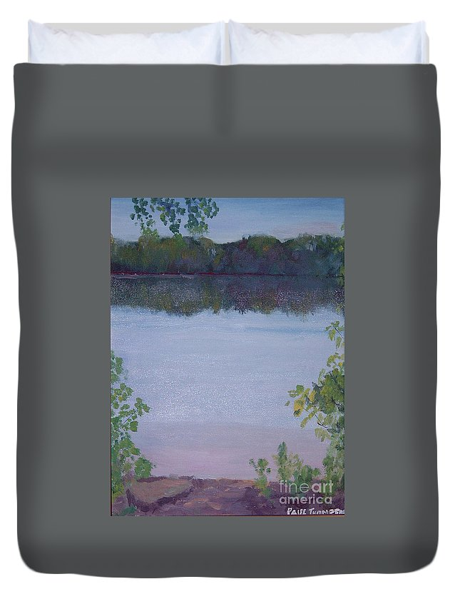 Silver Lake Duvet Cover featuring the painting Silver Lake by Paul Thompson