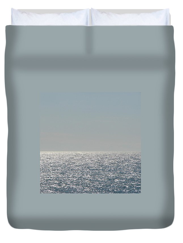 Blue Duvet Cover featuring the photograph Silver Light On Lake Michigan by Michelle Calkins