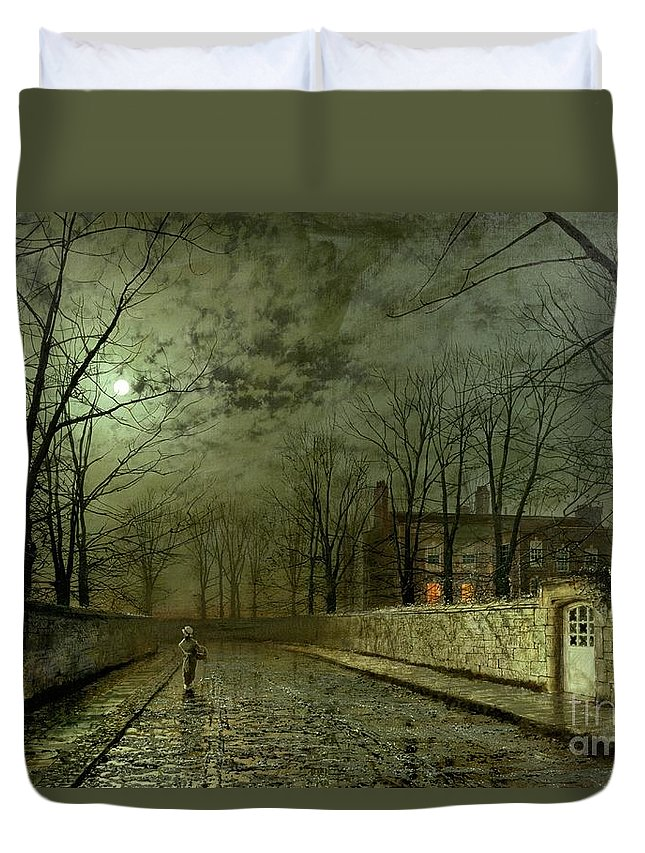 Silver Moonlight Duvet Cover featuring the painting Silver Moonlight by John Atkinson Grimshaw
