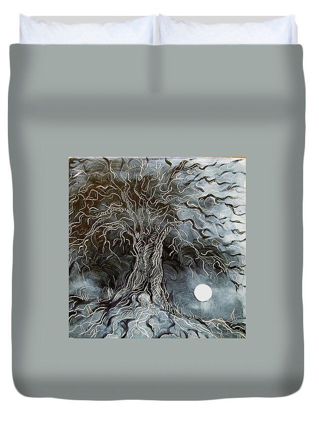 Nature Duvet Cover featuring the painting Silver Moonlit Tree by Karen Doyle