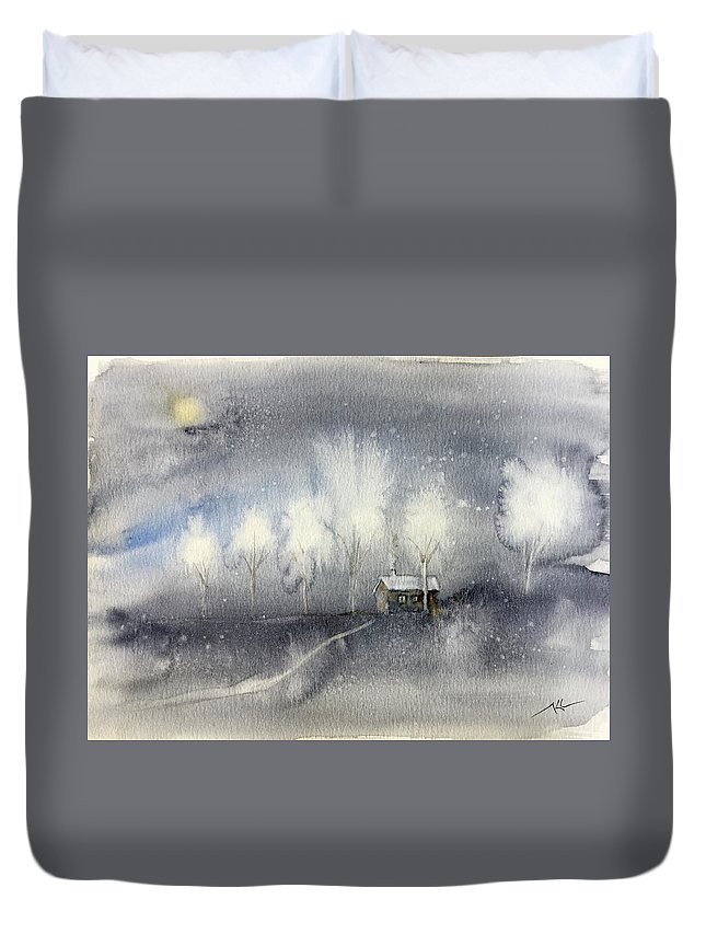 Winter Night Duvet Cover featuring the painting Silver Night by Katerina Kovatcheva