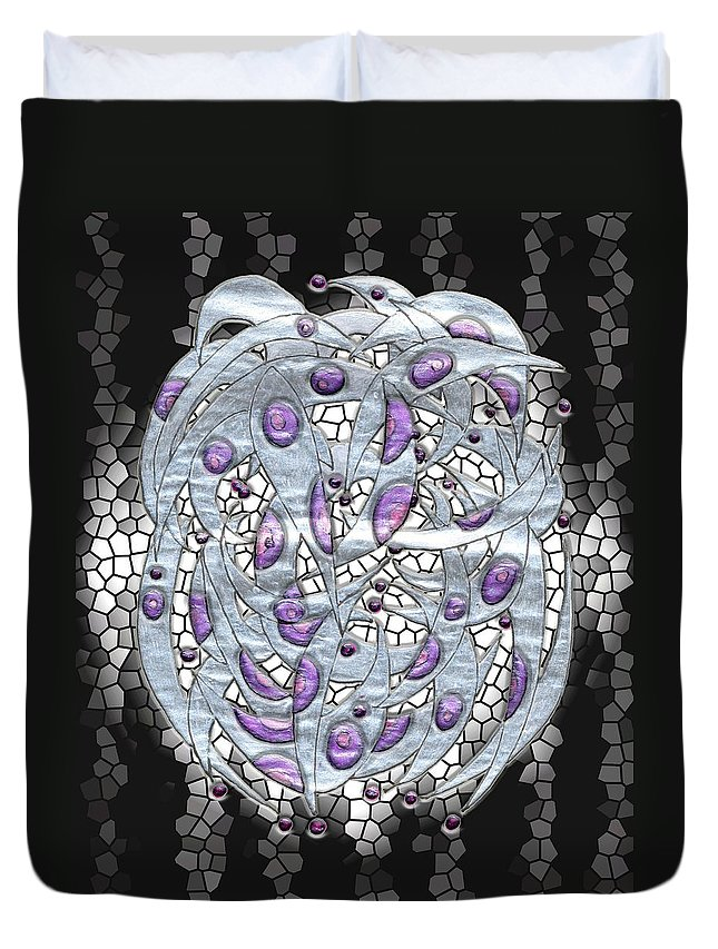 Abstract Duvet Cover featuring the digital art Silver On Stained Glass by Mark Sellers