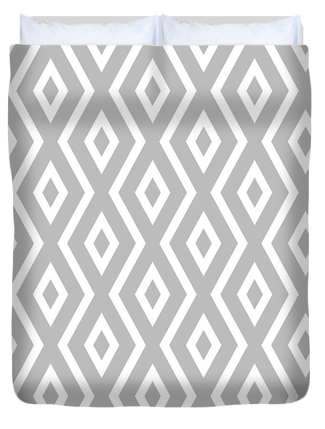 Silver Duvet Cover featuring the mixed media Silver Pattern by Christina Rollo
