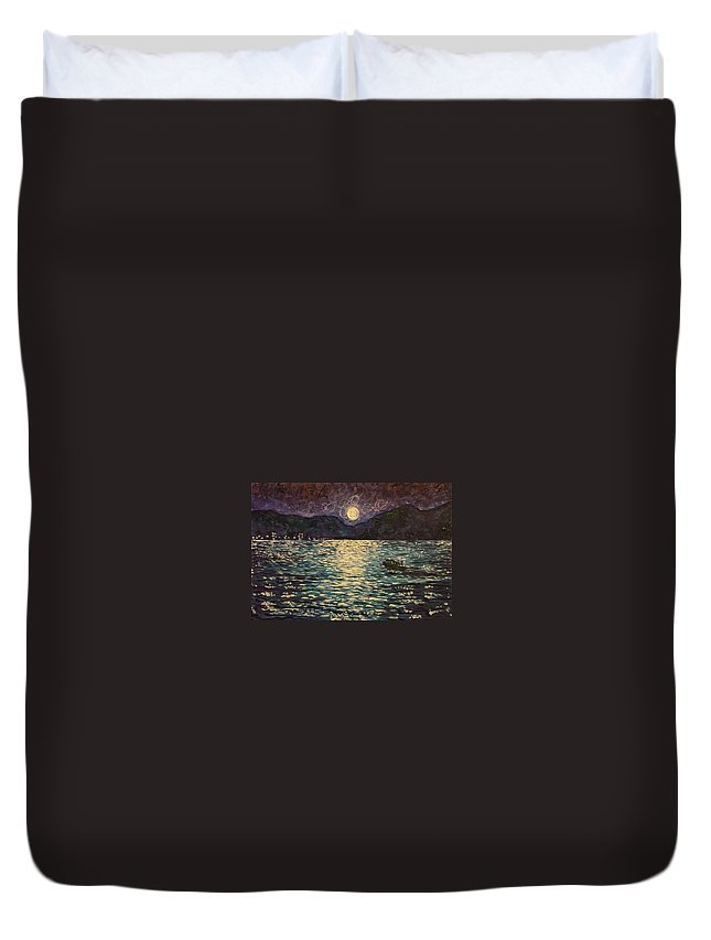 Landscape Duvet Cover featuring the painting Silver Sea by Ericka Herazo