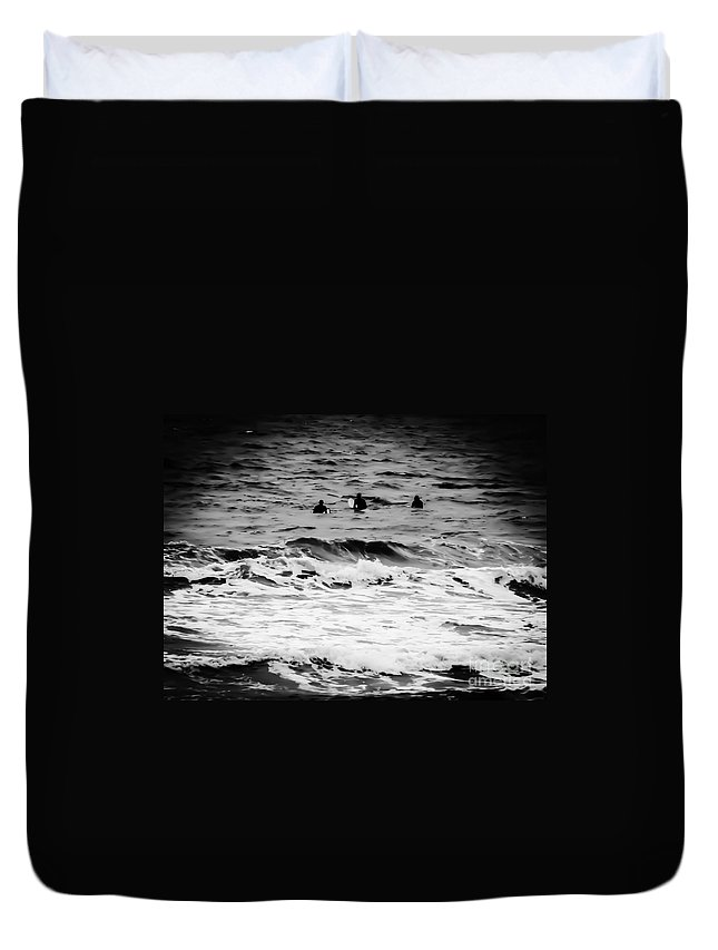Silver Duvet Cover featuring the photograph Silver Surfers by Heather Joyce Morrill