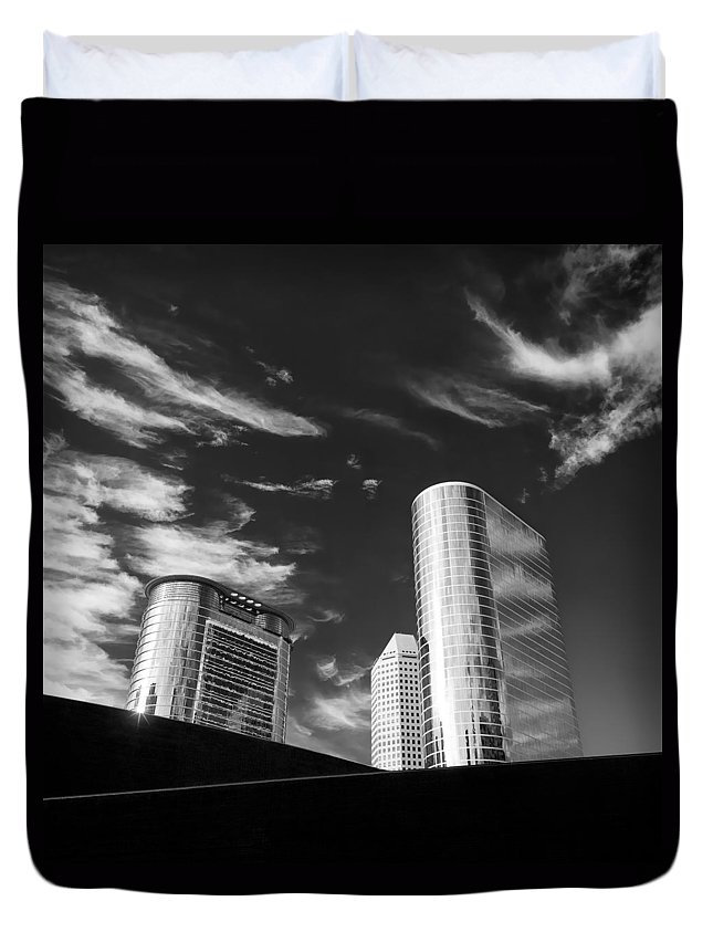 Houston Duvet Cover featuring the photograph Silver Towers by Dave Bowman
