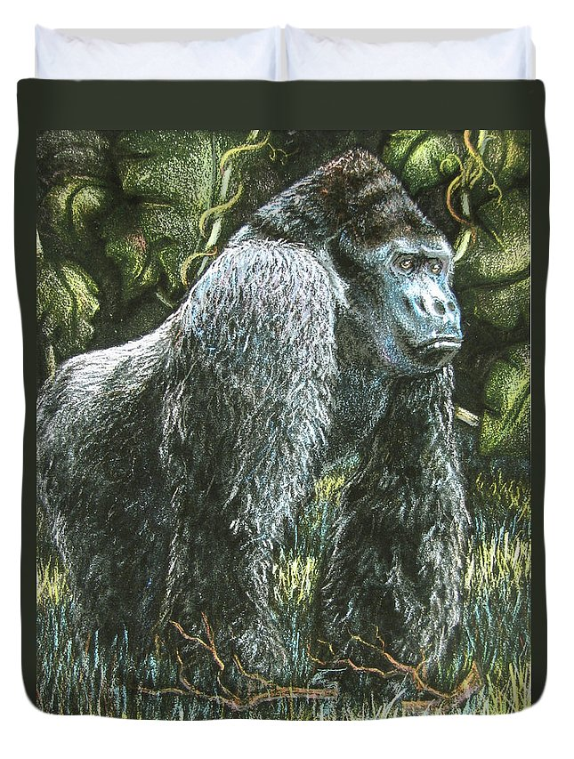 Fuqua - Artwork Duvet Cover featuring the drawing Silverback-king Of The Mountain Mist by Beverly Fuqua