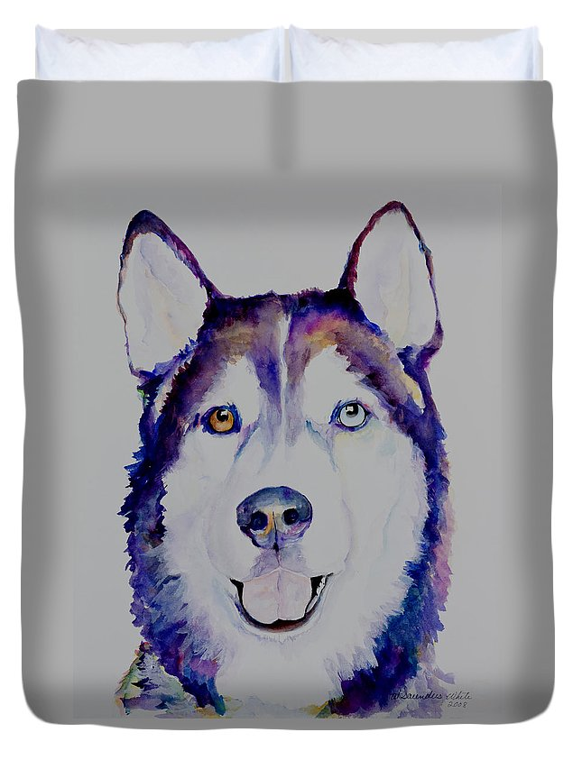 Siberian Husky Duvet Cover featuring the painting Simba by Pat Saunders-White