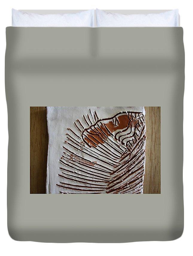 Jesus Duvet Cover featuring the ceramic art Simeon - Tile by Gloria Ssali