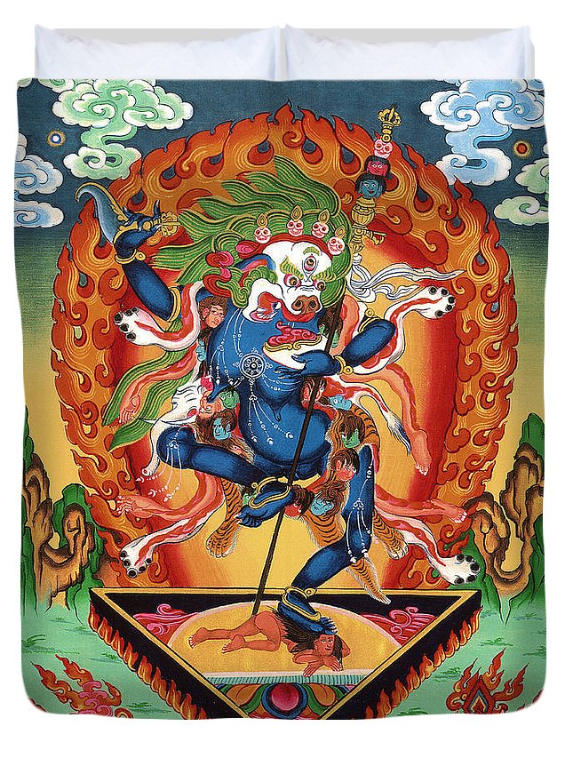 Thangka Duvet Cover featuring the painting Simhamukha - Lion Face Dakini by Sergey Noskov