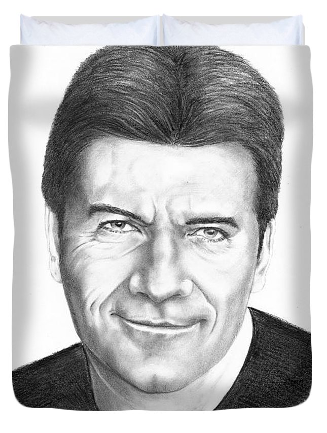Portrait Duvet Cover featuring the drawing Simon Cowell by Murphy Elliott