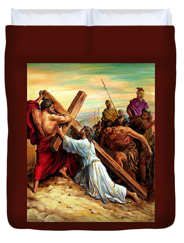 Jesus Duvet Cover featuring the painting Simon Helping Jesus by John Lautermilch