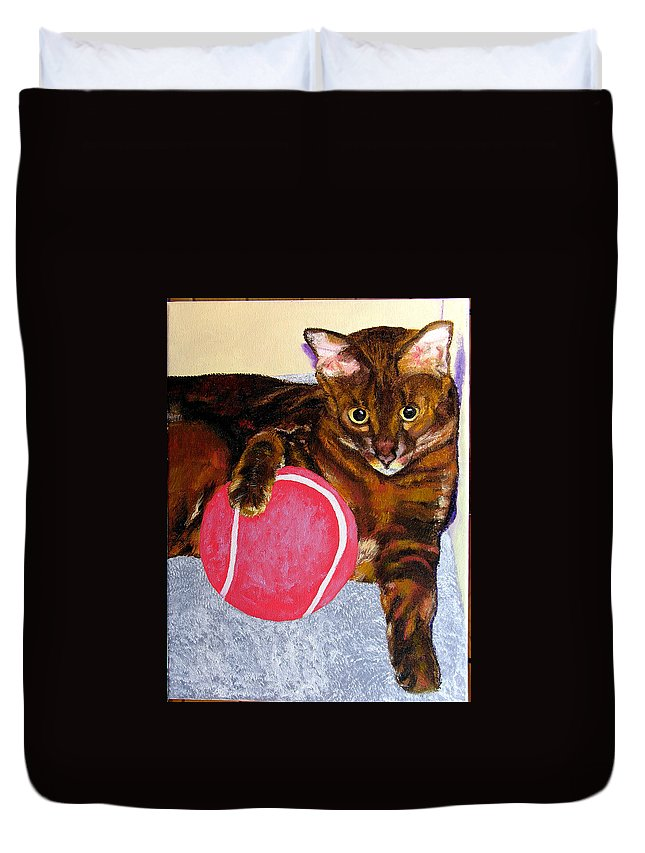 Cat Duvet Cover featuring the painting Simon by Stan Hamilton