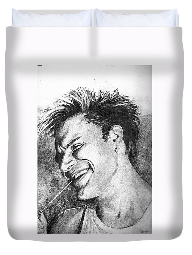 Simon Man Face Portrait Young Fresh Smile Duvet Cover featuring the drawing Simon by Veronica Jackson