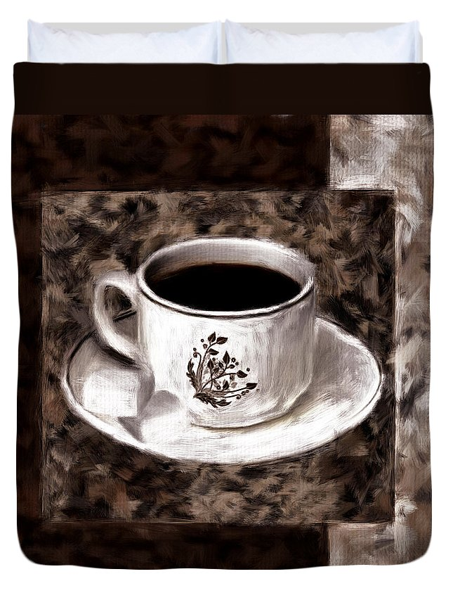 Coffee Duvet Cover featuring the digital art Simply Aromatic by Lourry Legarde