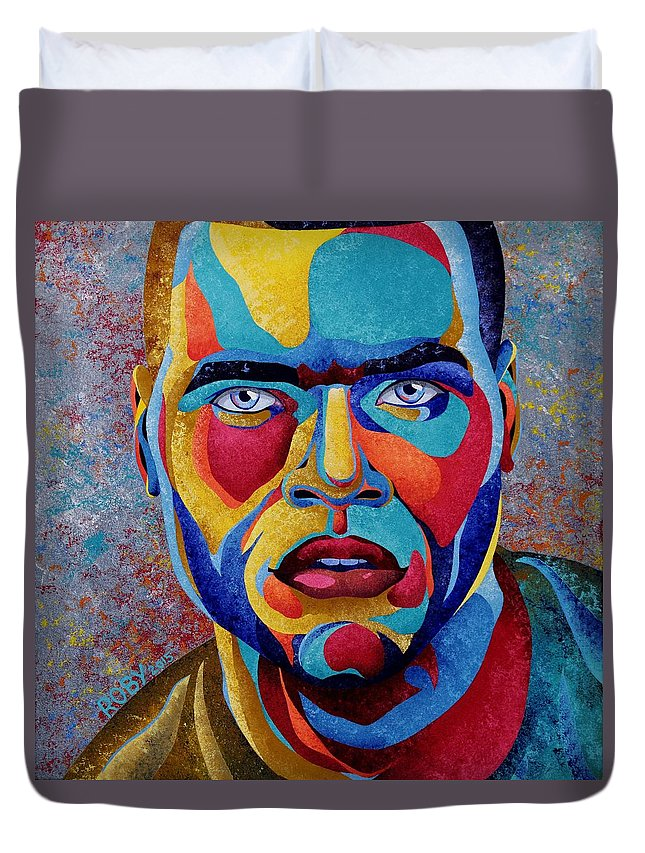 Colorful Masculine Facial Image Duvet Cover featuring the painting Simply Complex by William Roby