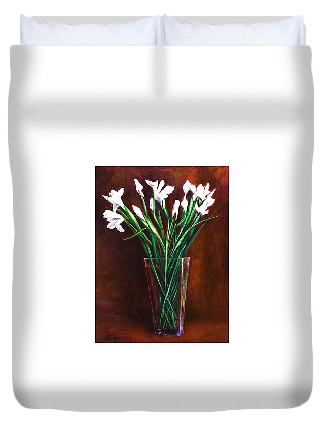 Iris Duvet Cover featuring the painting Simply Iris by Shannon Grissom