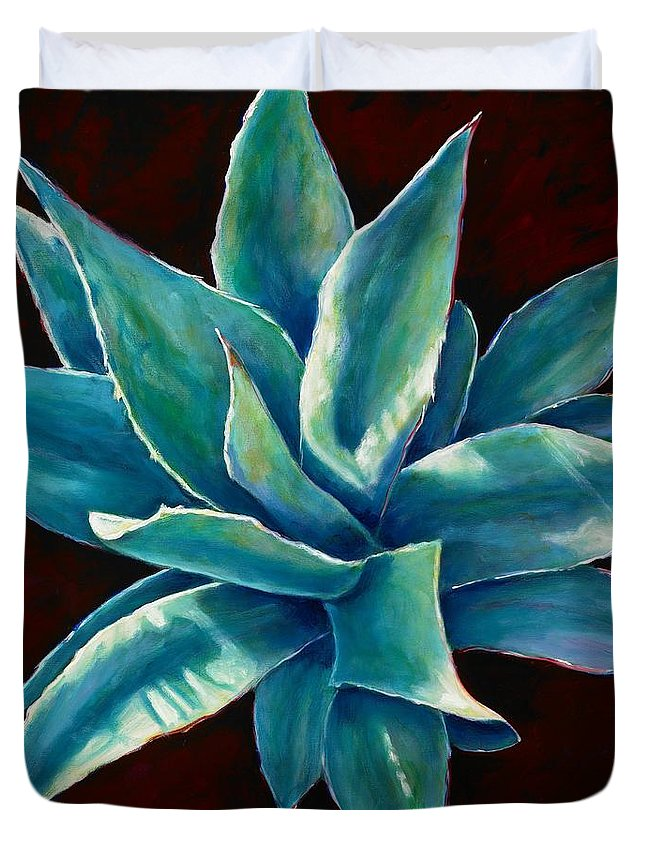 Agave Duvet Cover featuring the painting Simply Succulent by Shannon Grissom