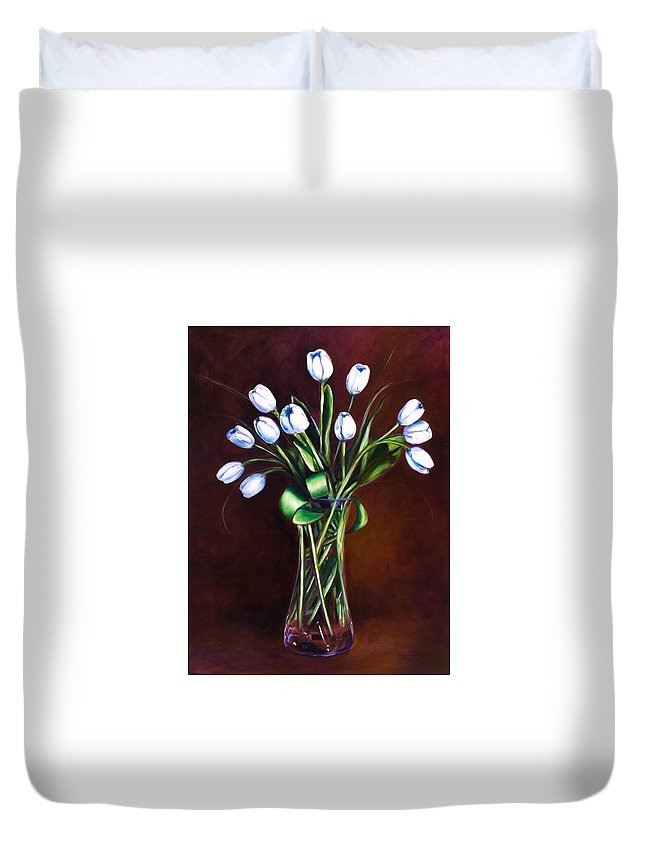 Shannon Grissom Duvet Cover featuring the painting Simply Tulips by Shannon Grissom
