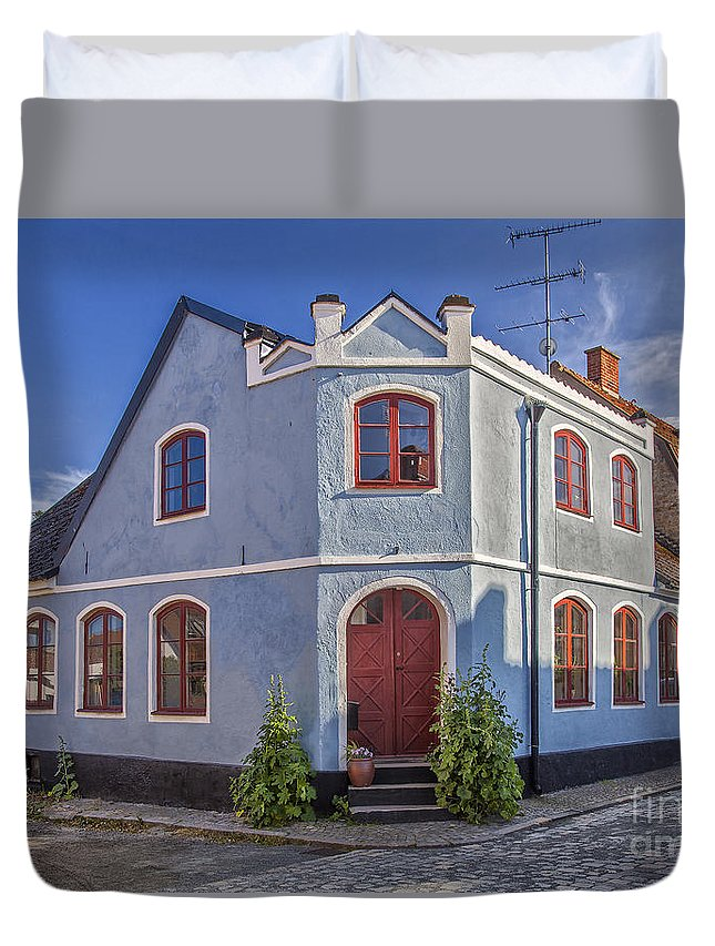 Blue Duvet Cover featuring the photograph Simrishamn Townhouse by Sophie McAulay