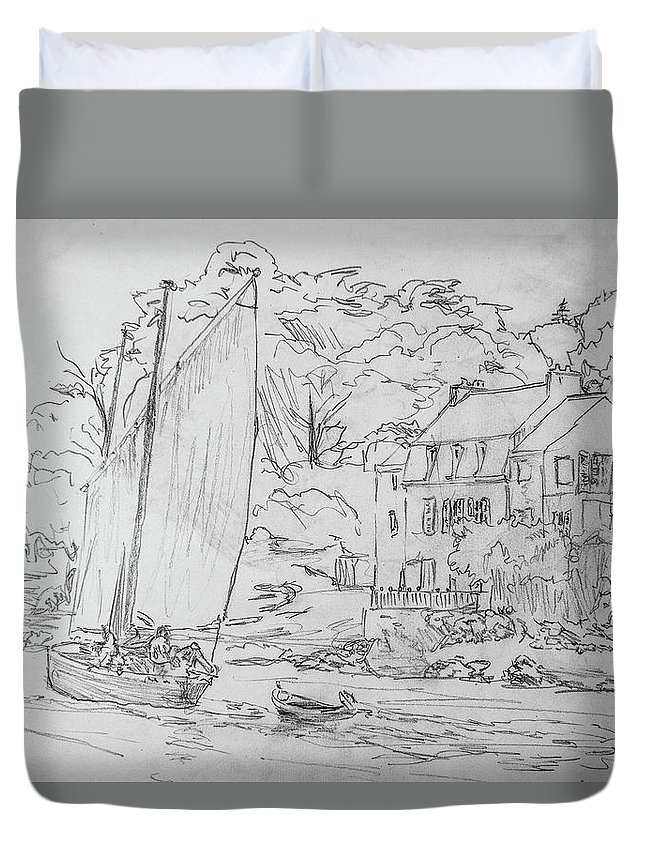 Boat Duvet Cover featuring the drawing Sinagot At The Pink House Vannes France by George Desire Herman