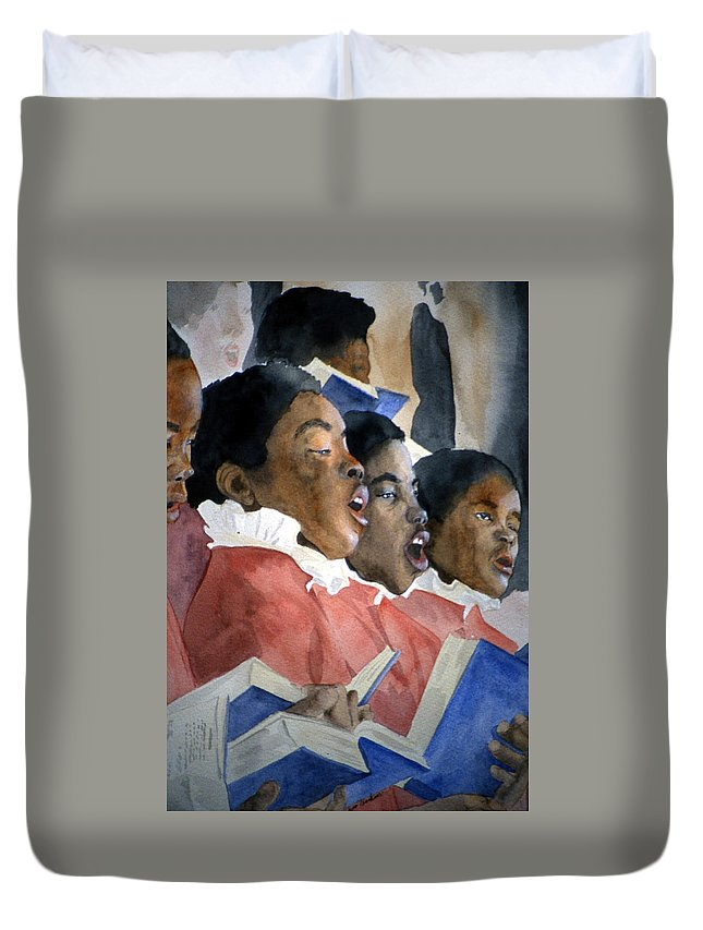 Choir Duvet Cover featuring the painting Sing Out Your Joy by Jean Blackmer