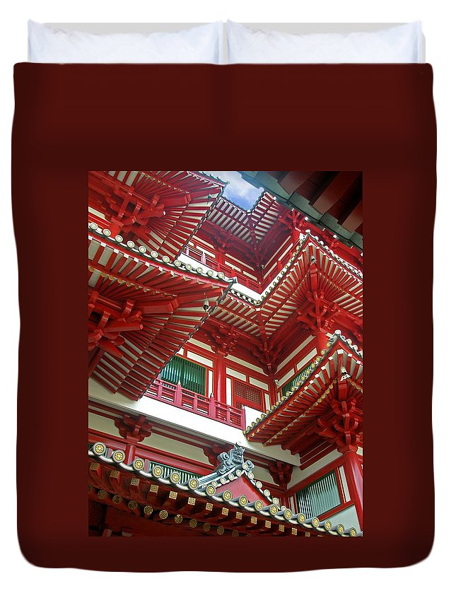Singapore Temple Religion Buddhism Candle Lamp Light Chinese Chinatown Culture Tradition Building Duvet Cover featuring the photograph Singapore Buddha Tooth Temple by Mark Sellers