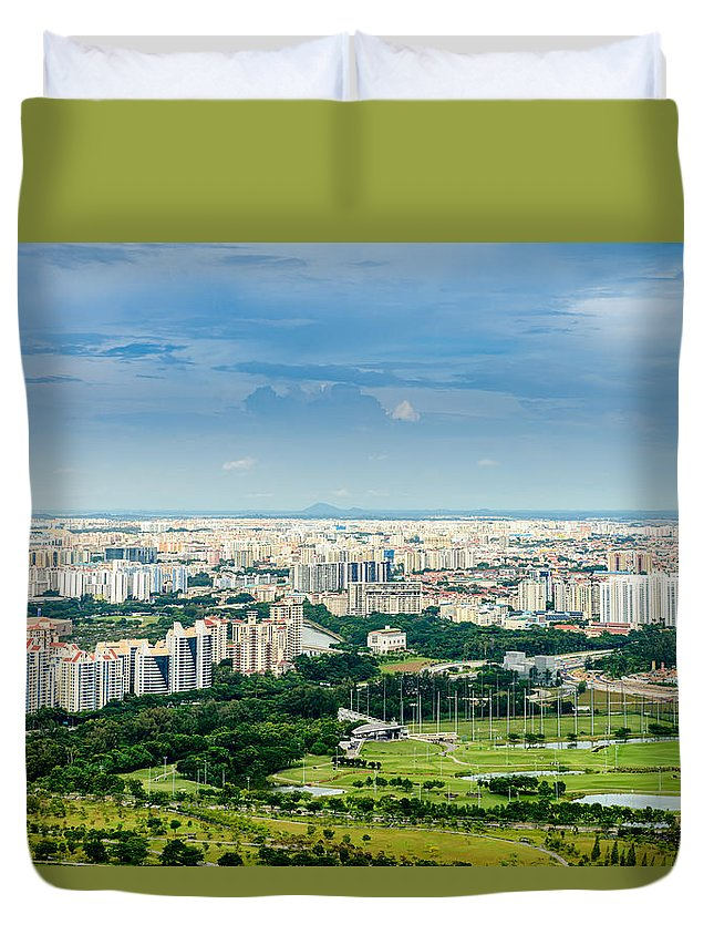 China Duvet Cover featuring the photograph Singapore Cityscape by Michael Scott