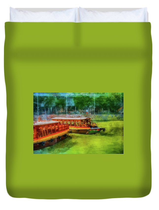 Boats Duvet Cover featuring the mixed media Singapore River Boats by Joseph Hollingsworth