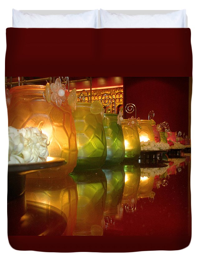 Singapore Duvet Cover featuring the photograph Singapore Temple Offering Lamps by Mark Sellers