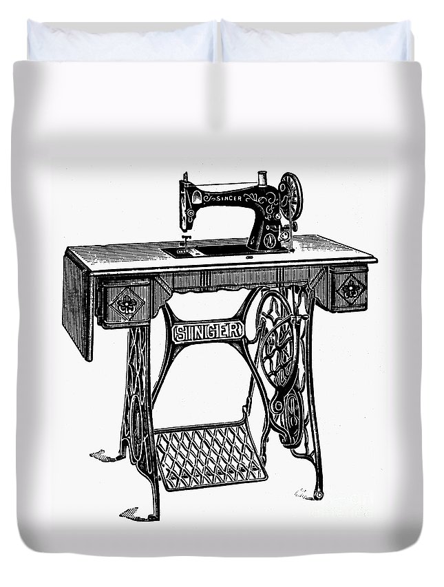 19th Century Duvet Cover featuring the photograph Singer Sewing Machine by Granger