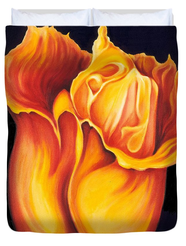 Surreal Tulip Duvet Cover featuring the painting Singing Tulip by Jordana Sands