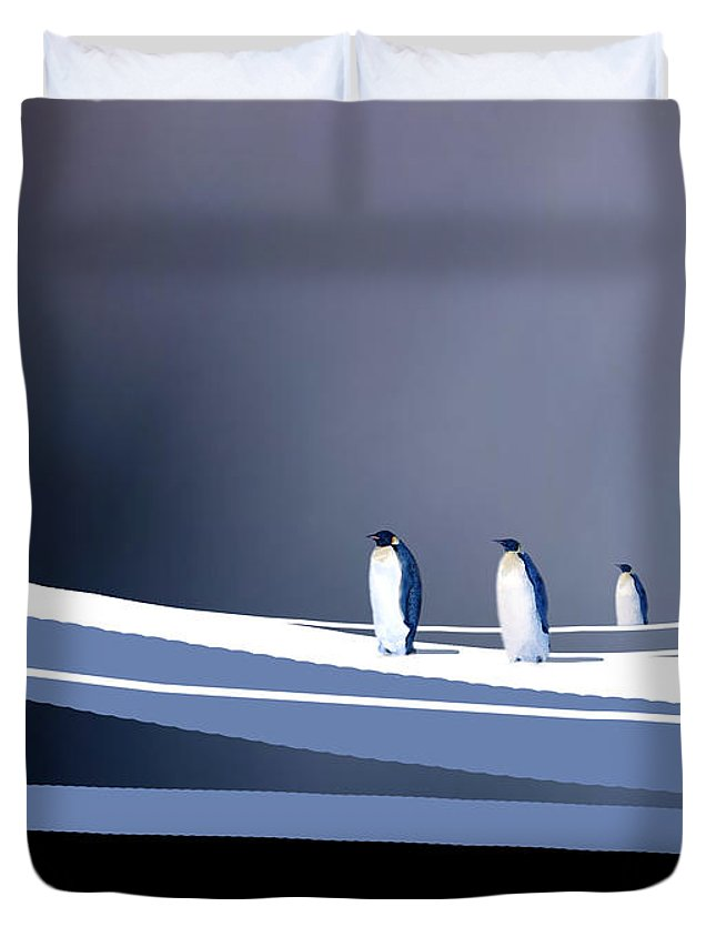 Birds Duvet Cover featuring the painting Single File by Paul Sachtleben