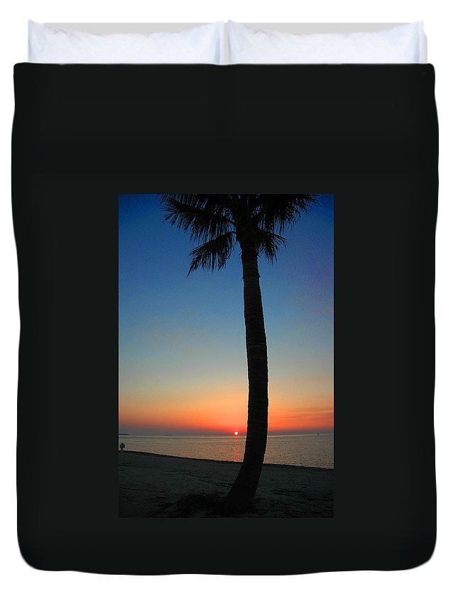 Photography Duvet Cover featuring the photograph Single Palm and Sunset by Susanne Van Hulst