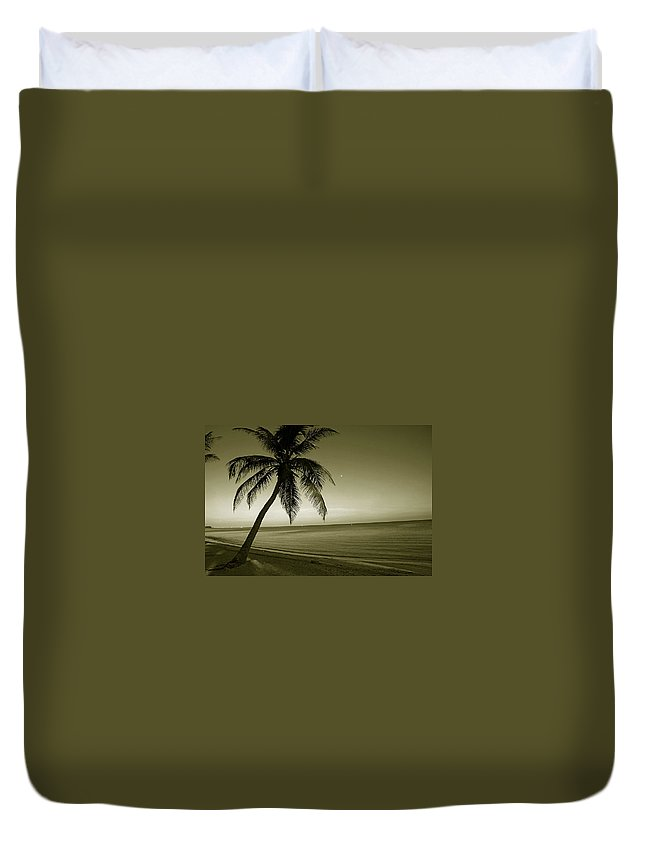 Palm Tree Duvet Cover featuring the photograph Single Palm At The Beach by Susanne Van Hulst