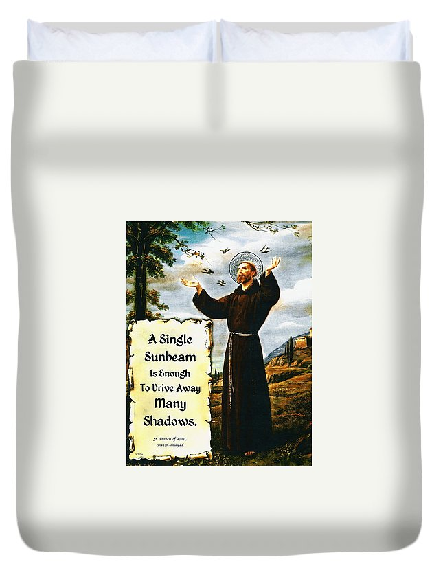 A Simple Prayer For Peace By St. Francis Of Assisi Duvet Cover featuring the painting Single Sunbeam Quote By St. Francis Of Assisi by Desiderata Gallery