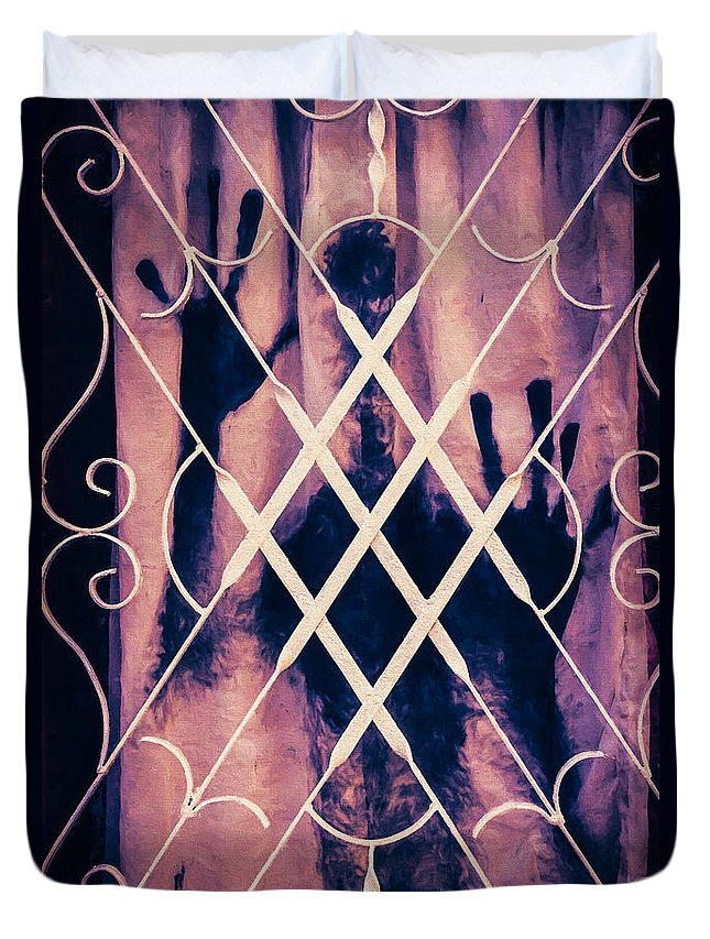 Curtain Duvet Cover featuring the photograph Sinister Figure Painted On A Curtain by Paul Bucknall