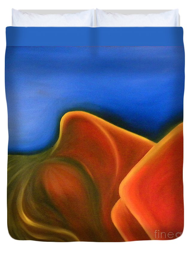 Woman Paintings Duvet Cover featuring the painting Sinuous Curves Iv by Fanny Diaz