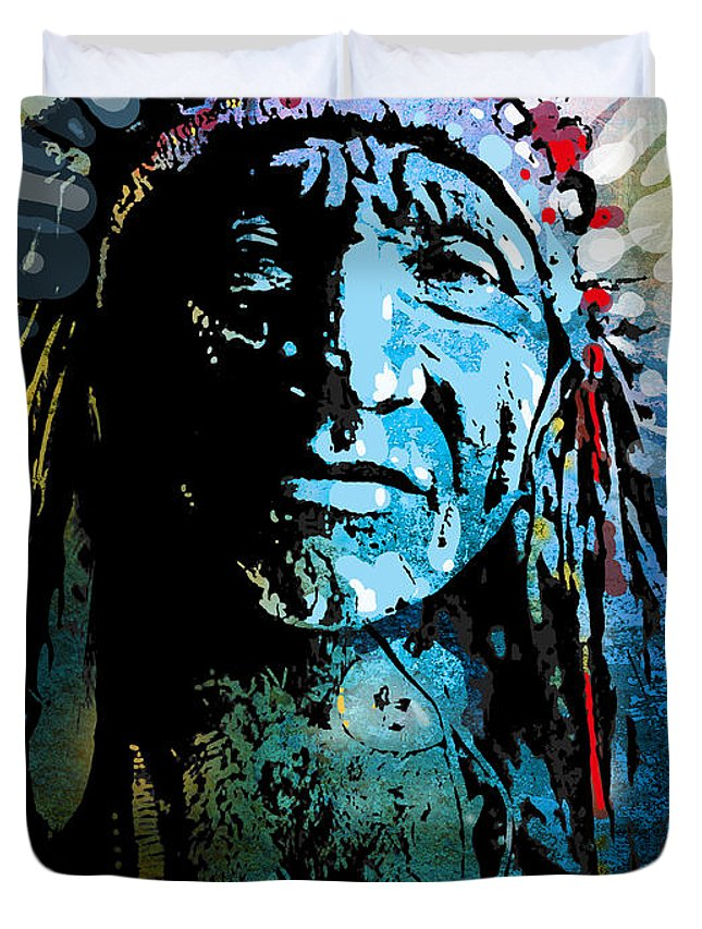 Native American Duvet Cover featuring the painting Sioux Chief by Paul Sachtleben