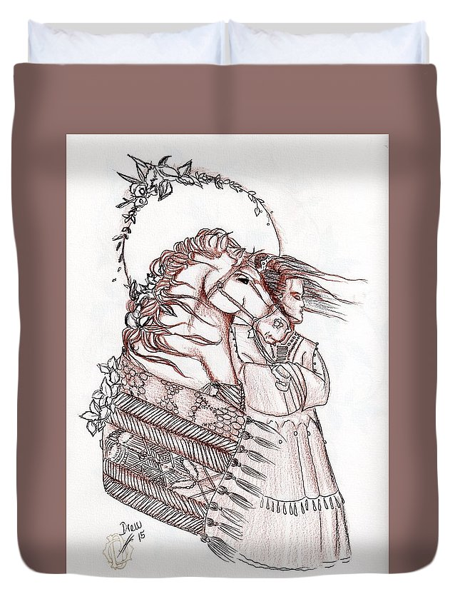 Southwest Art Duvet Cover featuring the drawing Sioux Wind by Drew O'Dailey