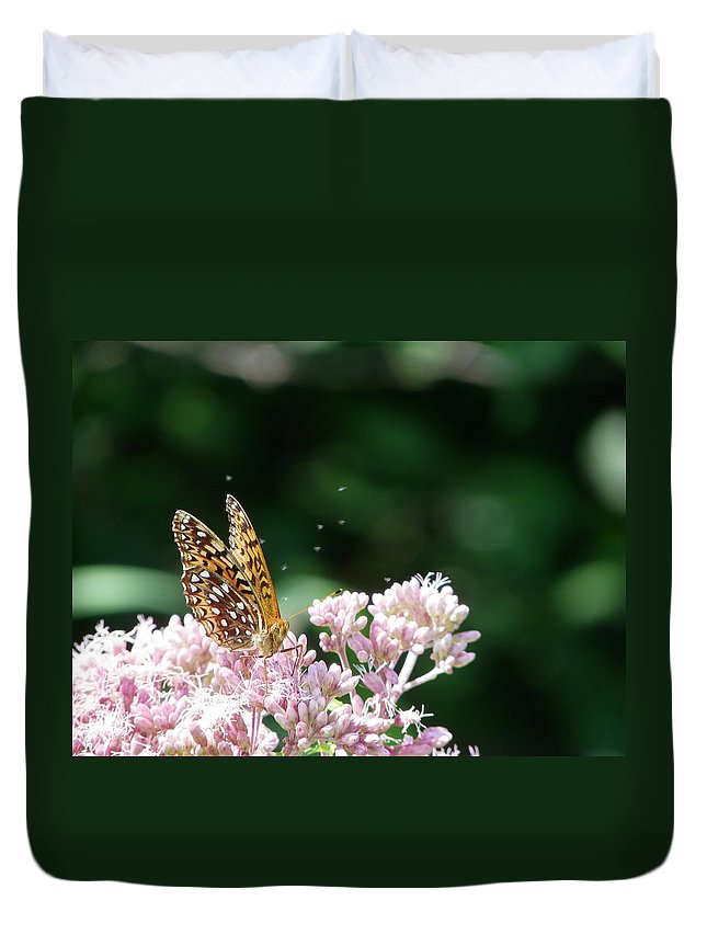 Butterfly Duvet Cover featuring the photograph Sipping Nectar by Peggy King