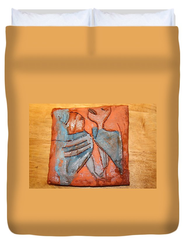 Jesus Duvet Cover featuring the ceramic art Sir - Tile by Gloria Ssali