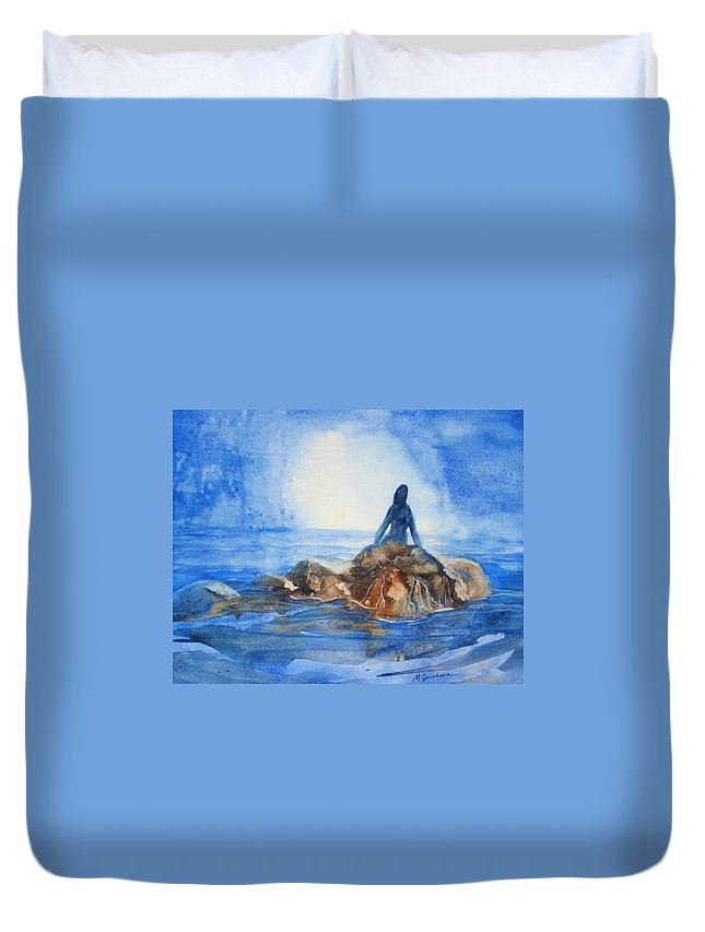 Mermaid Duvet Cover featuring the painting Siren Song by Marilyn Jacobson