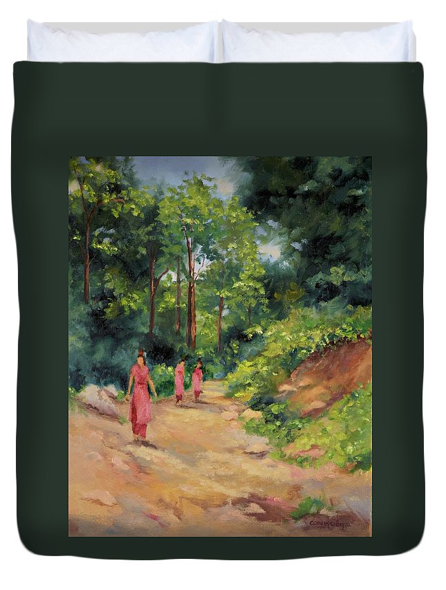 Nepal Landscapes Duvet Cover featuring the painting Sisters in Nepal by Ginger Concepcion