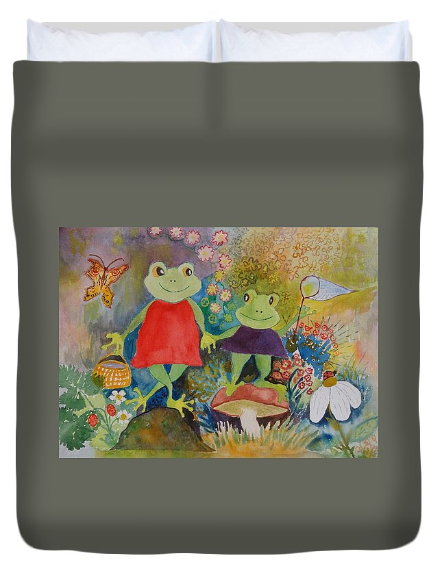 Frogs Duvet Cover featuring the painting Sisters by Irina Stroup