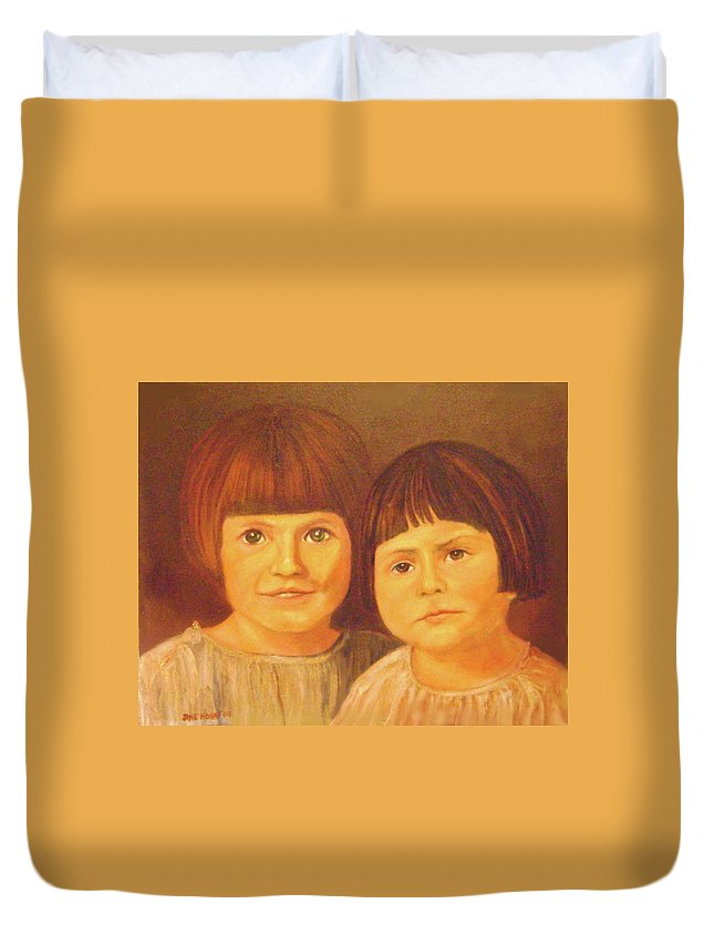 Portrait Duvet Cover featuring the painting Sisters by Jane Honn